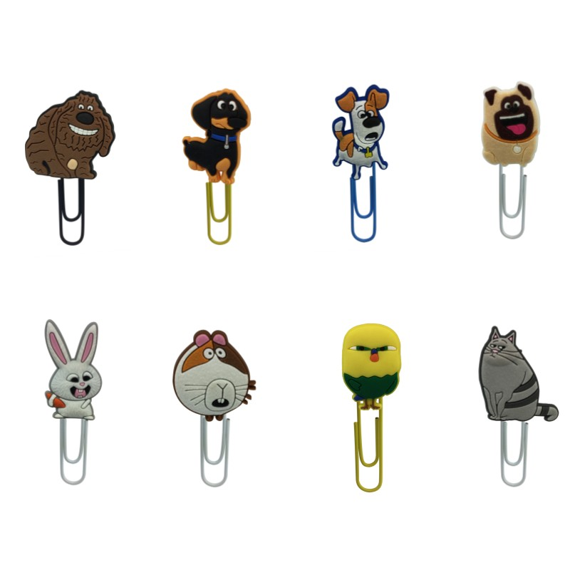 8Pcs/Set The Secret Life Of Pets Cartoon Book Marks PVC Charm Metal Clip Lovely Paper Holder School/Office Supply Kid Stationery