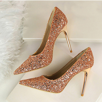 Women Pumps Shoes Women super hight Heels Wedding Valentine Bling Shoes Female Gold Silver Red Stiletto Shoes 9219-1 Slippers