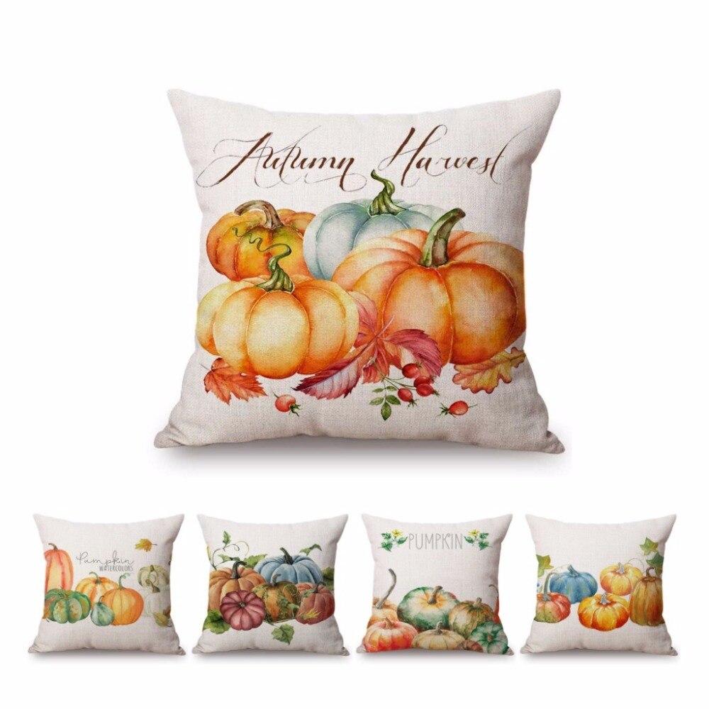 Thanksgiving Pumpkin Throw Pillow Case Home Sofa Bed Decor Square Cushion Cover