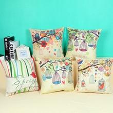 Hot Sale Pillow Covers Cute Cartoon OWL Bird Pattern Fashion Style 45X45CM Linen Pillow CoverHome Decorative cushion case