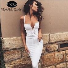 5bbeeb25e2 NewAsia Garden Sexy Summer Lace Up Waist Bodycon Dress Plunge Deep V Neck  Sleeveless Club Party