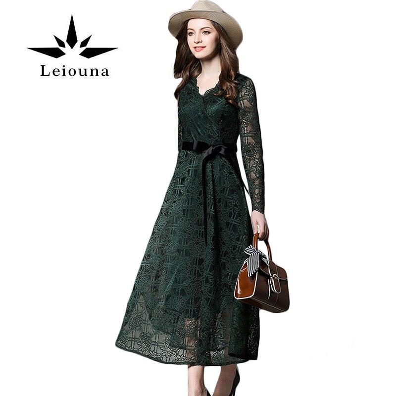 Leiouna guipure dentelle top à manches longues tissu bleu robes 2017 de  haute qualité élégant nouvelles