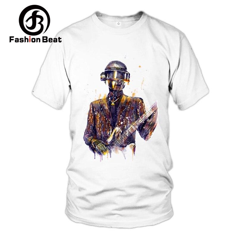 DJ Daft Punk Men T-shirt 2018 Summer EDM White Short Sleeves Street Style Tops Man Homme Tee T-shirts Electronic Music