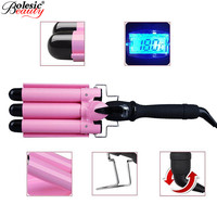 Professional 3 Barrels Fast Heat Curling Iron Thermoregulator Electric Hair Curler Triple Waver Spiral Curlers Curling