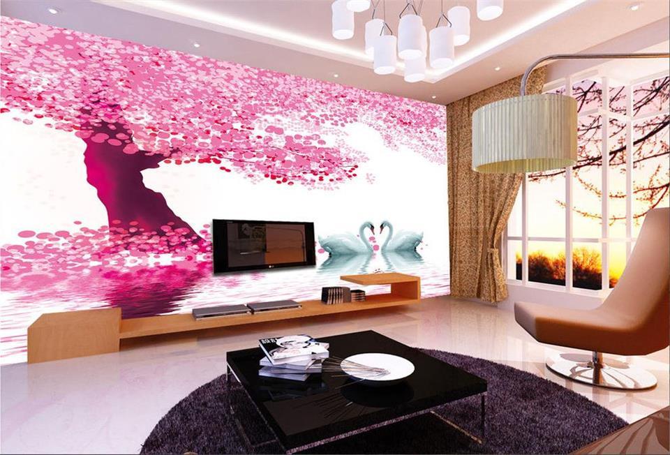 ⊰Custom 3d photo wallpaper room mural Watercolor tree Swan lake HD ...