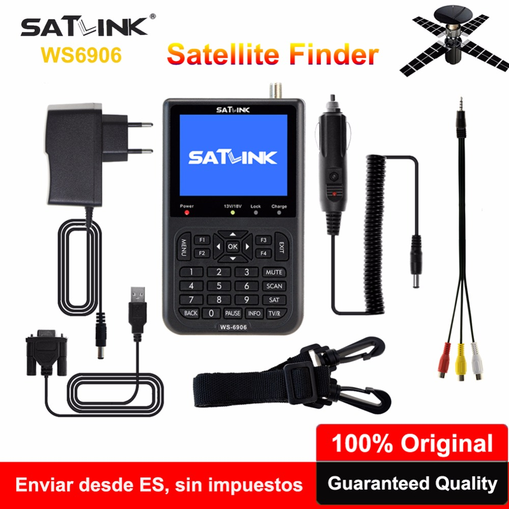 [Genuine] Satlink Spain Satellite Finder WS-6906 3.5 inch DVB-S FTA Digital Satfinder Satellite Signal Meter For Satellite Dish original dvb t satlink ws 6990 terrestrial finder 1 route dvb t modulator av hdmi ws 6990 satlink 6990 digital meter finder