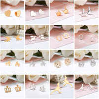 2019 New Variety of stylish Mini Stud Eearrings for Women Cute Stainless Steel Earring Stud Minimalist Jewelry Accessories Gifts
