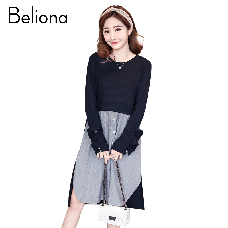 Spring Stitching Maternity Clothing Preppy Style Pregnancy Dress Cotton Loose Maternity Clothes For Pregnant Women 2018