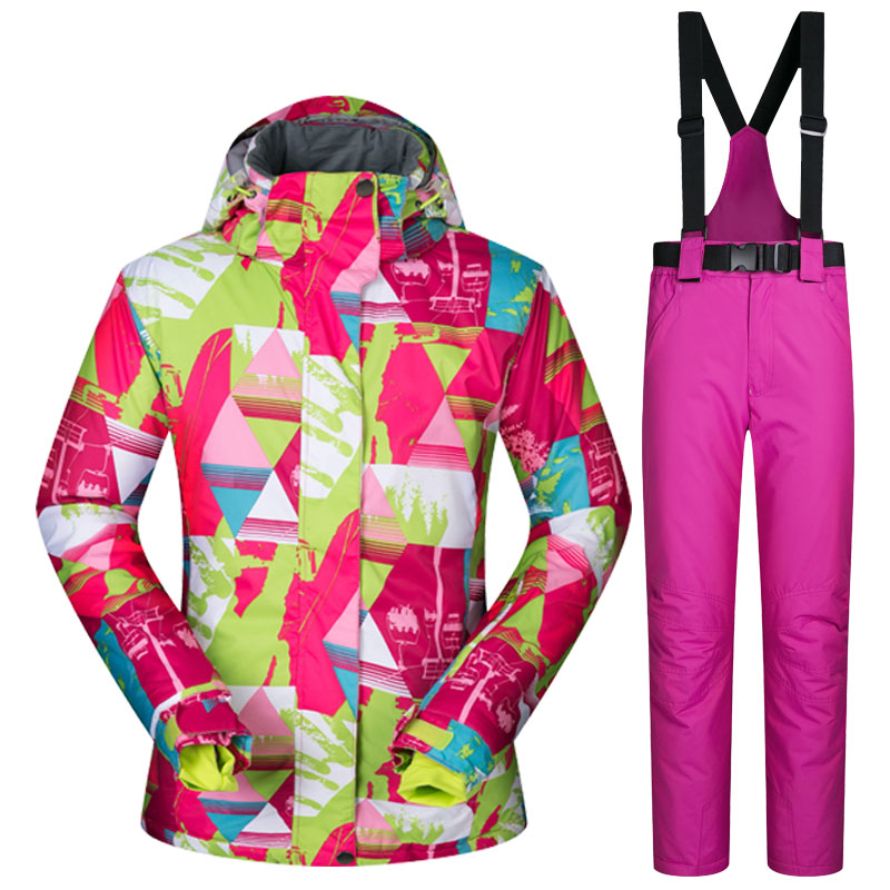 Dropshipping Waterproof Sportwear snow jacket and pants suit Women Winter Ski wear Top Hooded Jacket Strap Pants Female Ski Suit printed jacket and pocket design pants twinset