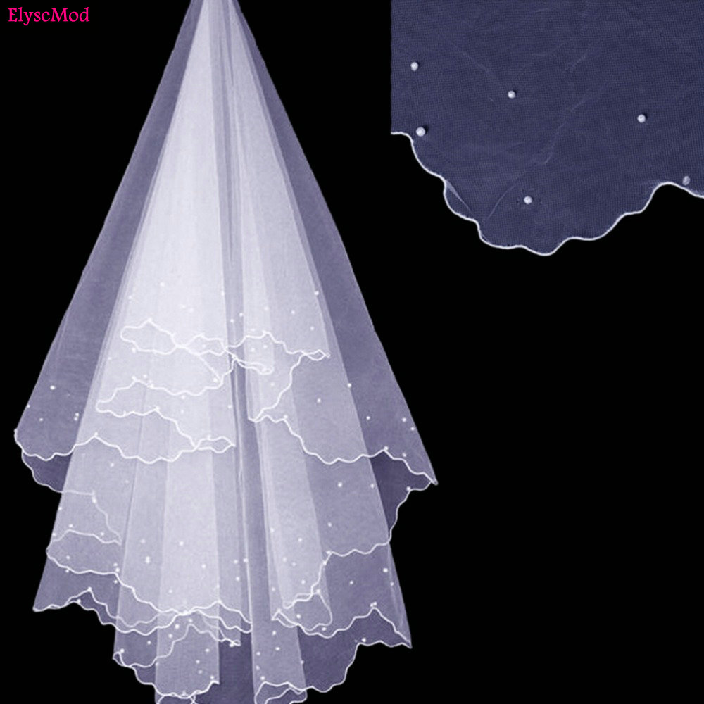 Romad Simple Tulle White Ivory Two Layers Wedding Veils Ribbon Edge Comb Cheap Wedding Accessories Short Bridal Veil R4 Bridal Veils Wedding Accessories