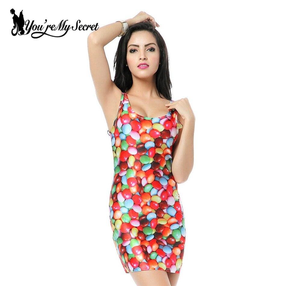Cheap dress to order -  You Re My Secret Women Design Candy Rainbow Print Galaxy Dress Black Milk Vest Dress New Made To Order Sleeveless Sundress