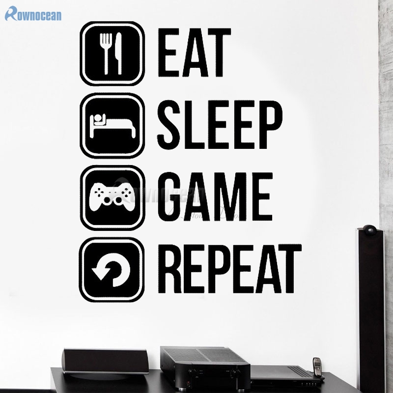 eat sleep game repeat wall sticker quotes icon home decorations