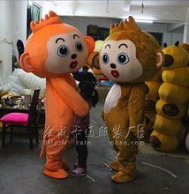 Naughty Orange and Brown Monkey Mascot Costume Fancy Mascotte Cartoon Appearl Halloween Birthday Cosplay Outfit
