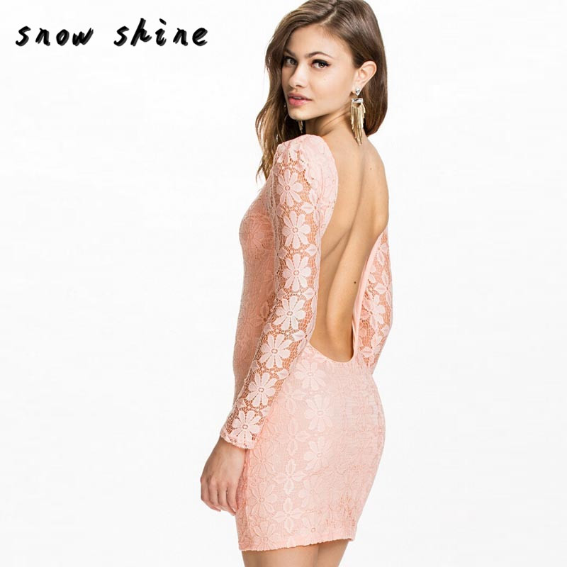 snowshine YLI Sexy Women Slim Backless Lace Long Sleeve Bodycon Evening Party Dress FREE SHIPPING