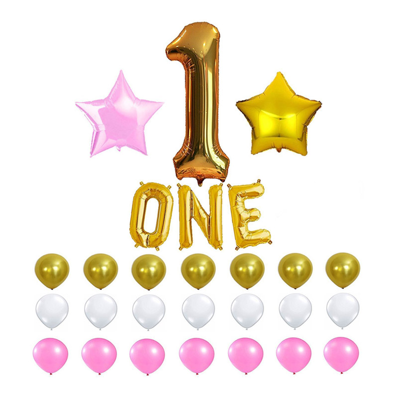 1st Birthday Party Balloon Decoration Kit With 16inch Letters One For Baby Shower Boys Girls Air