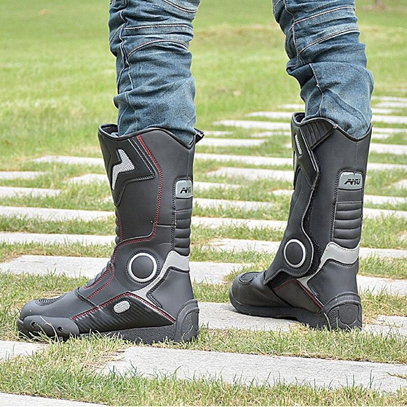 AMU Moto bottes cuir imperméable Botte Moto Moto Botte motard protecteur chaussures moteur Motocross bottes - 5