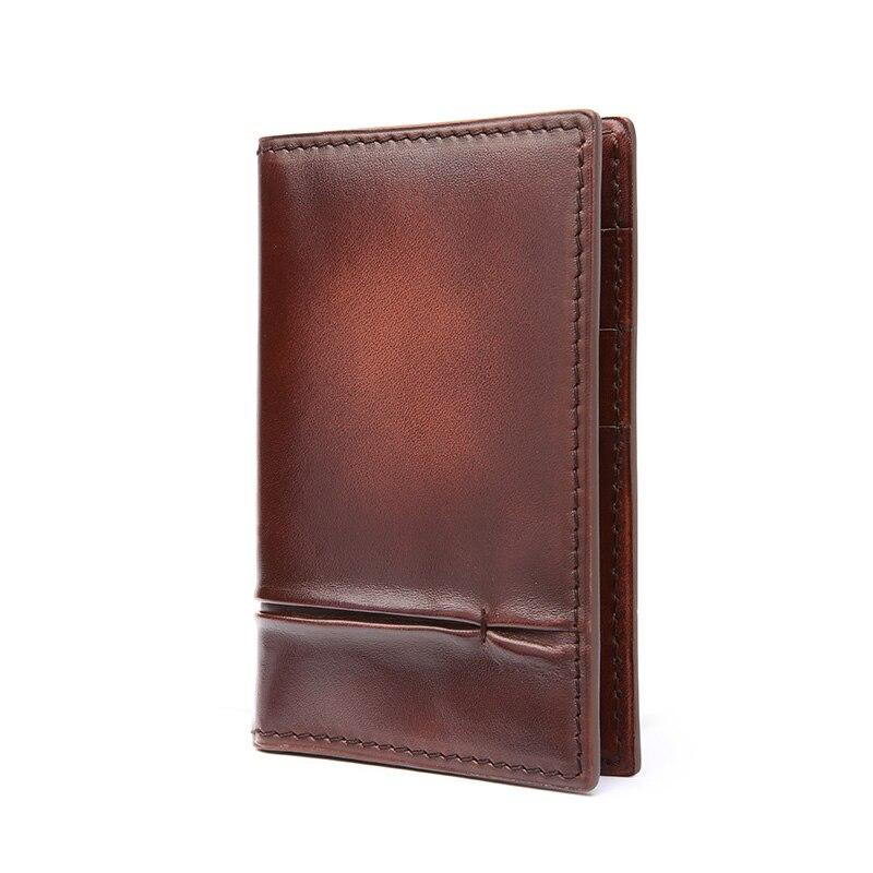 TERSE Handmade Leather font b Men b font Bag Card Holder Card font b Wallet b
