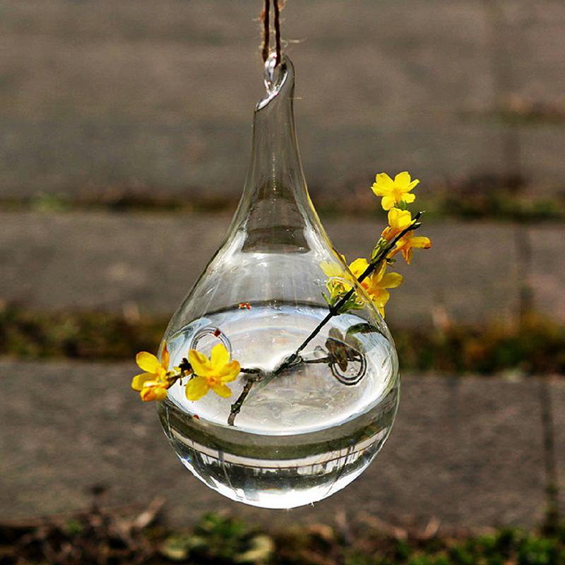 nueva llegada colgante gota redonda de cristal florero de vidrio de hidropnicos decoracin del hogar