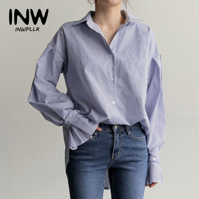6b1e5d13ad5224 2019 Womens Tops And Blouses Blue Striped Shirts Female Fashion Long Sleeve  Blusas Mujer Autumn Tops Casual Chic Shirts Women
