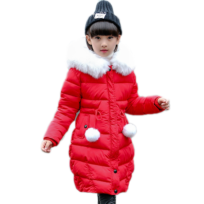 girl winter coat 2017 new kids winter jackets solid long section girls cotton padded jacket thicken warm hooded children outwear