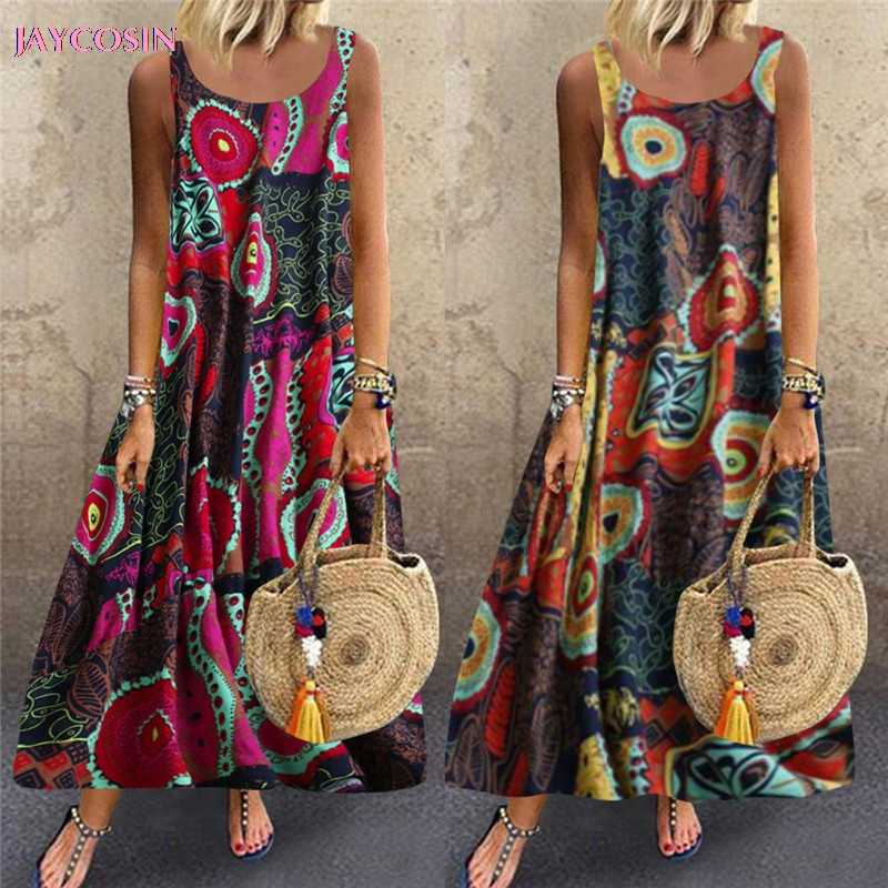 Jaycosin 2019 Jurk Vrouwen Casual Losse Mouwloze Bloemen Dagelijks Linnen Print Lange Jurk Romeinse Stijl Plus Size S-5XL drop #0626