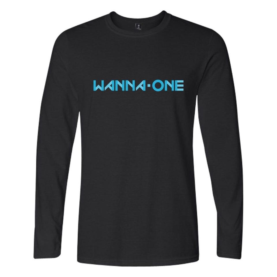 Kpop Korean New Boy Band WANNA ONE T-shirt Fashion Clothing Korean Wanna One Men Women Cotton T shirt Long Tops Tee