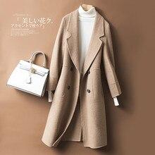 7eee4d95696d Winter Wool Coat Brown White Woman Long Cashmere Slim Style Korean Ladies  Elegant Warm Cashmere Coats