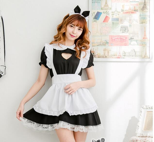 <font><b>Sexy</b></font> French Maid Costume Sweet <font><b>Gothic</b></font> Lolita Dress Anime Cosplay Sissy Maid Uniform Plus Size <font><b>Halloween</b></font> Costumes For <font><b>Women</b></font> image
