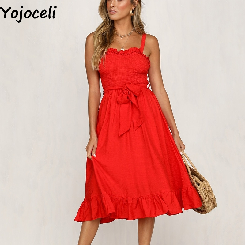 Yojoceli Elegant ruffle long sashes strap dress women Summer sexy beach boho maxi dress female Casual daily cute dress vestidos