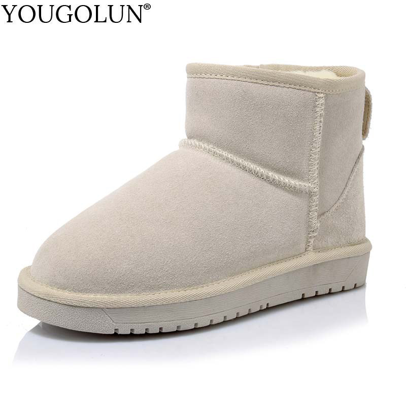 YOUGOLUN Genuine Suede Snow Boots for Women Winter New Arrived Lady Warm Maroon Black Shoes Woman Sewing Flat Ankle Boots #B190 xiangxue warm and fuzzy black suede flat boots for winter 2018 chelsea boots for women