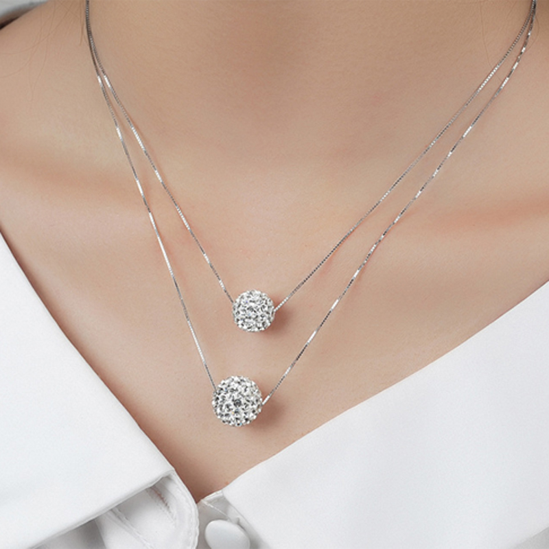 серебряное ожерелье круглый циркон