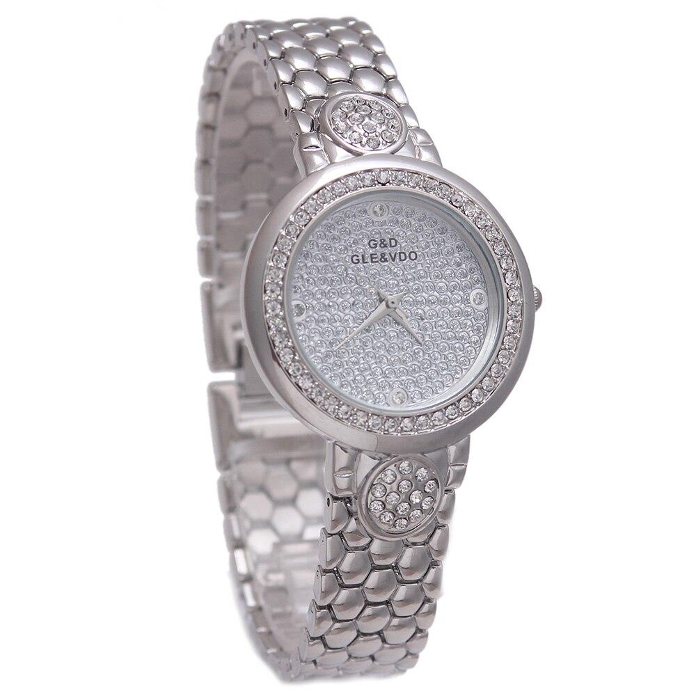 Mulheres Prata Aço Inoxidável Quartzo Relógio de