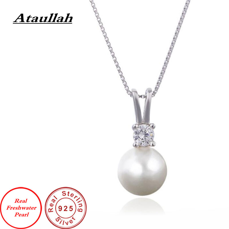 Ataullah Real Natural Freshwater Pearl Pendant Necklace Silver 925 Jewelry Luxury Qualities For Woman DIY Necklaces PW001