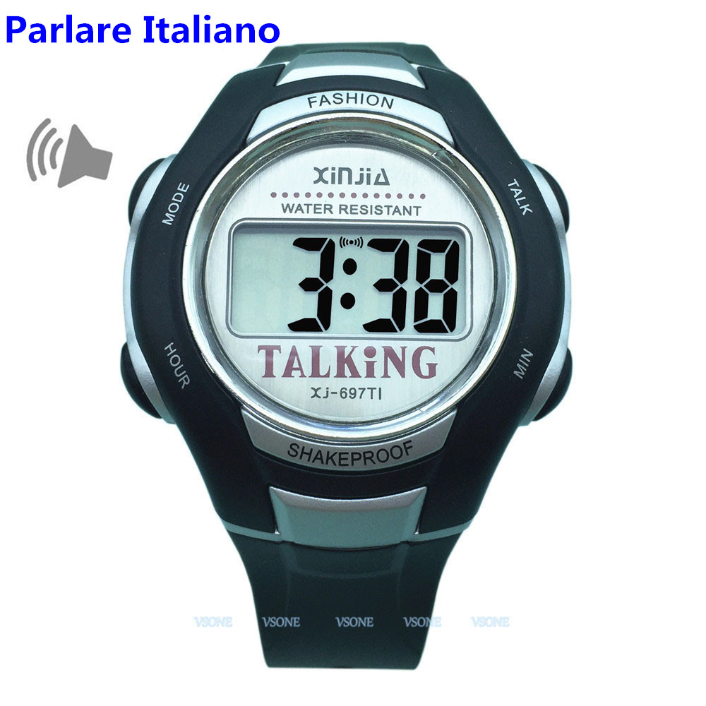 Italian Talking Watch Big Voice For Blind People Quartz Alarm Clock italian visual phrase book