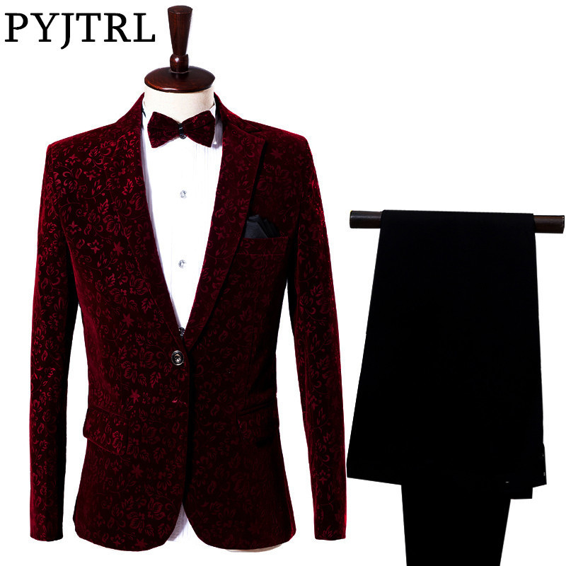 (Jacket + Pants) Red Man 's Suit 신랑 복장 가수 주인공 호스트 스테이지 쇼 의류 복장 남성 정장 결혼식