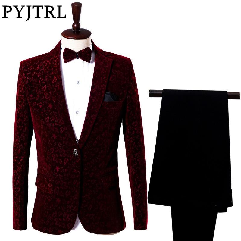 ( Jacket + Pants ) Red Man's Suit Groom Dress Singer Master Of Ceremonies Host Stage Show Serve Clothing Mens Suits Wedding