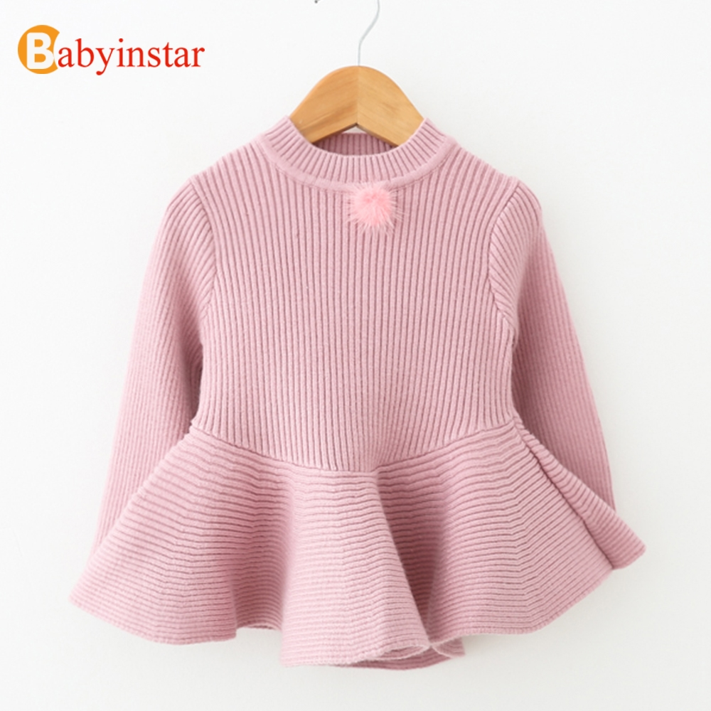 Babyinstar 2017 New Arrival Girl Sweater Dress Spring Autumn Ruffles Knit Wear Children's Clothing Solid Kids Sweaters