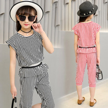 2019 fashion summer children tshirt shorts clothing sets kids girl striped outfits short sleeve black white stripe