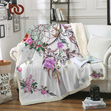 BeddingOutlet Dreamcatcher Collection Sherpa Blanket Floral Chic Plush Throw Blanket on Sofa Bohemian Thin Quilt Mandala Bedding(China)