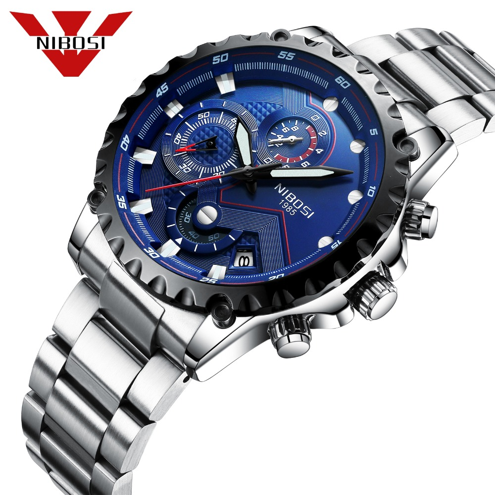 NIBOSI Top Brand Sport Watch Fashion Casual Clock Waterproof Quartz Wristwatches Outdoor Relogio Masculino Stainless Steel Watch