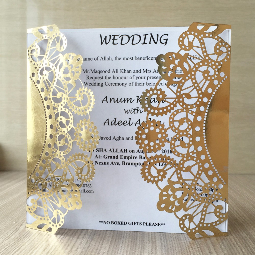 12pcs Bling Paper For Gold Blue Silver Classic Style Wedding Invitations  Cards Custom Laser Cut Flower