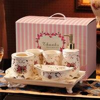 Bath 5pcs Ceramic Bathroom Articles for use Wash Gargle Toothbrush Gargle Suite Wedding Gift Set