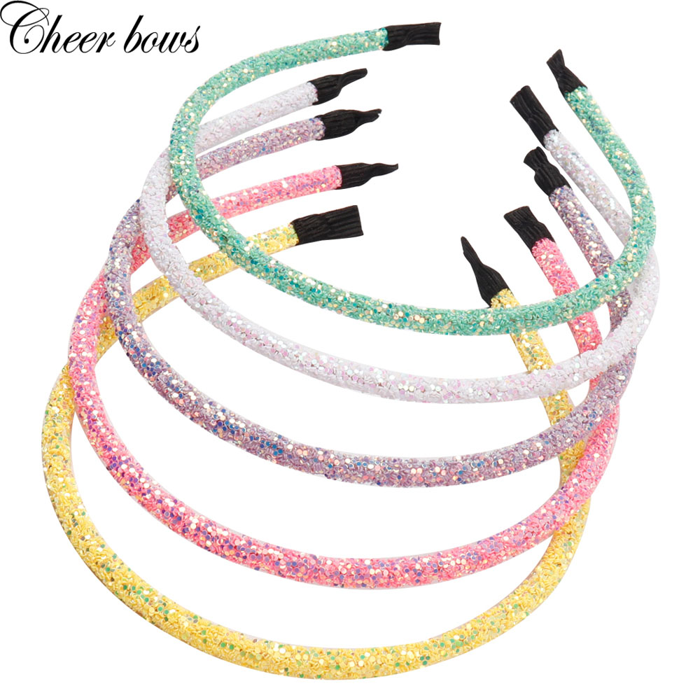 Hair Accessories Girls Thin Chunky Glitter Hairband Women Summer Style Headband Candy Color Glitter Hairbands Hair Accessories