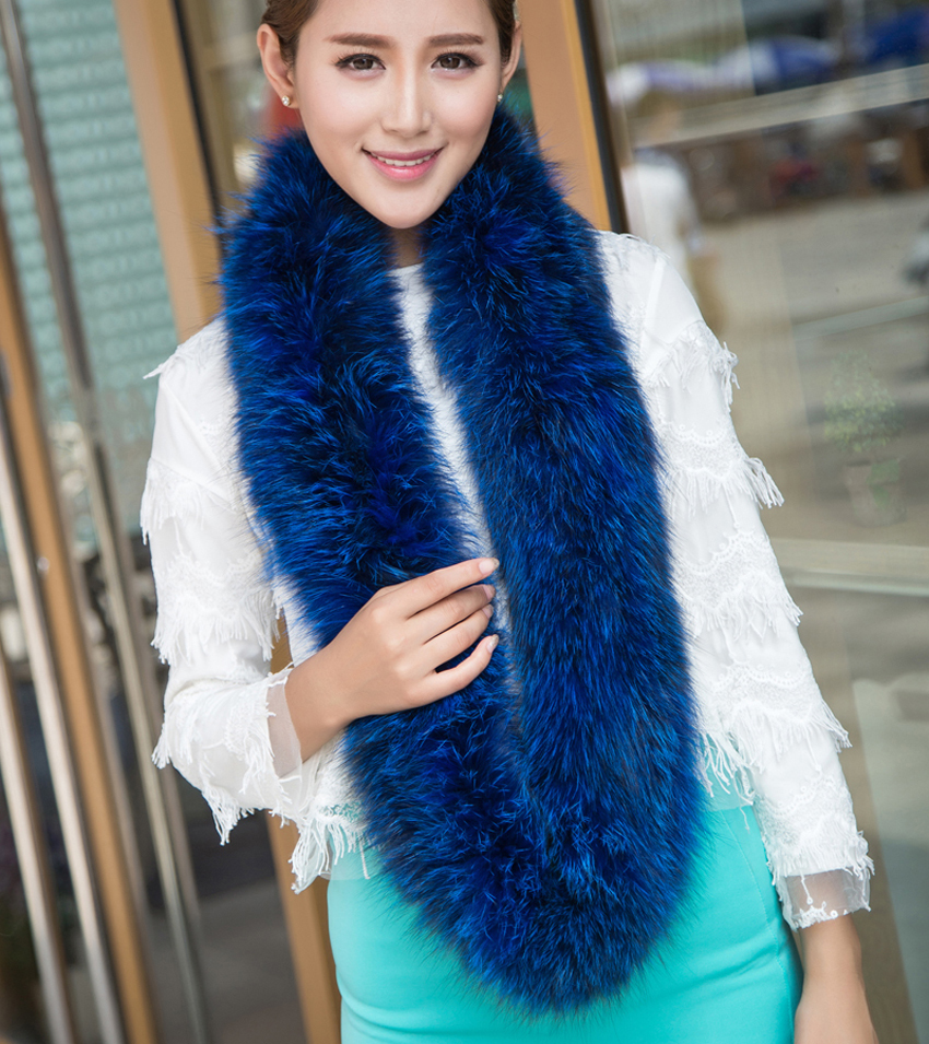 YCFUR Women   Scarves     Wraps   Winter Knit Fox Fur Ring   Scarf   For Women Thick Fox Fur Neck Warmer   Scarf   Female