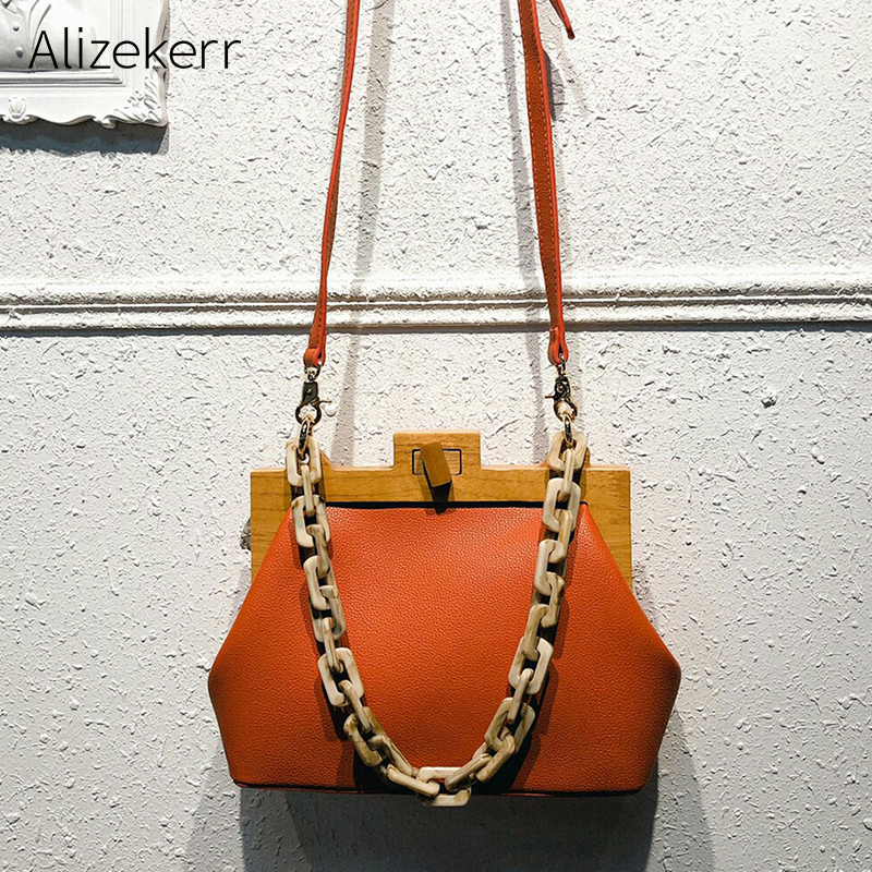 Wooden Clip Shoulder Bag Women 2019 Summer Luxury Designer Korea Acrylic Thick Chain Small Square Handbag