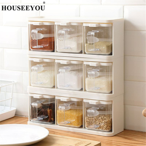 Image 1 - Spice Rack 3 Grids Spoon Kitchen With Lid Container Seasoning Box Herb Spices Storage Condiment Jar Cooking With Handle Desktop