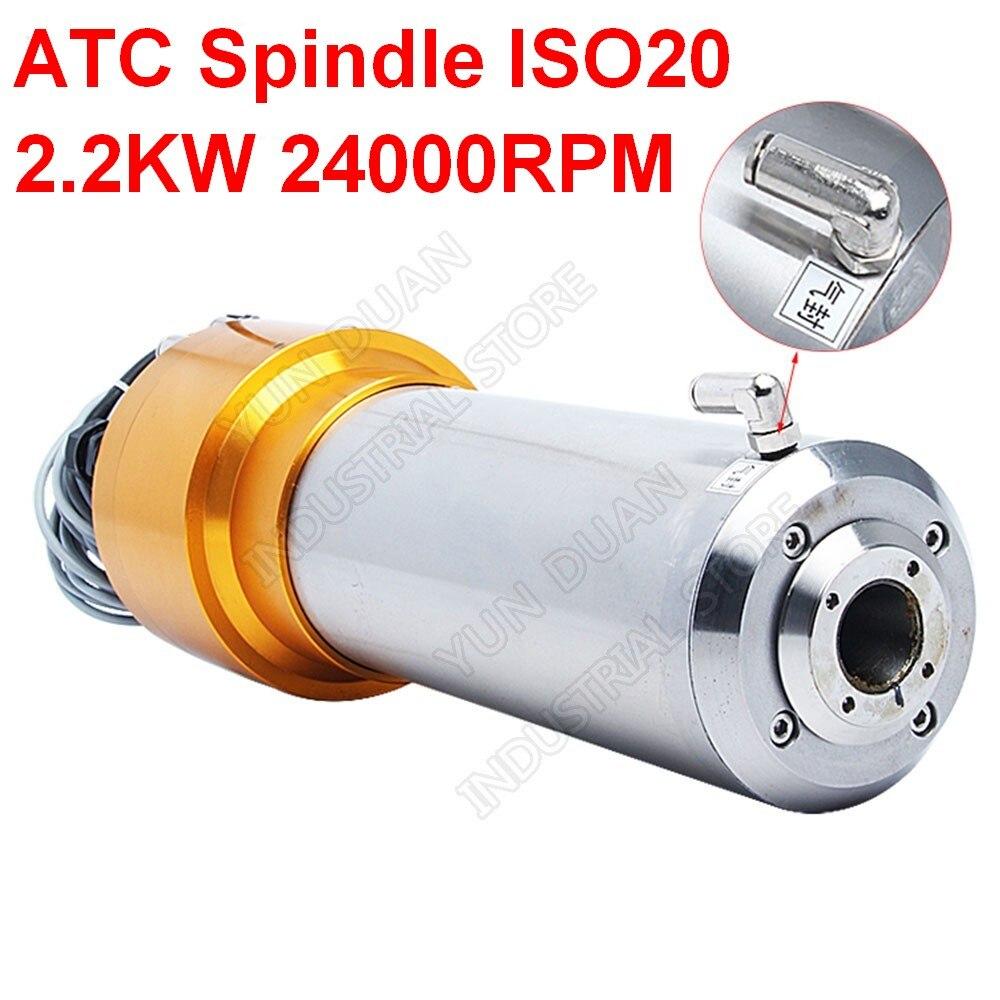 Fuso ATC 2.2KW 3HP AC220V ISO20 24000RPM 800Hz 80MM Automática Mudanças Ferramenta Motor Spindle NPN PNP para CNC Router Gravura