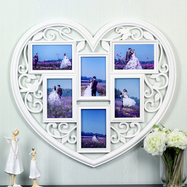 yazi Plastic White Love Heart Photo Collage Frame 6 Picture Wall ...