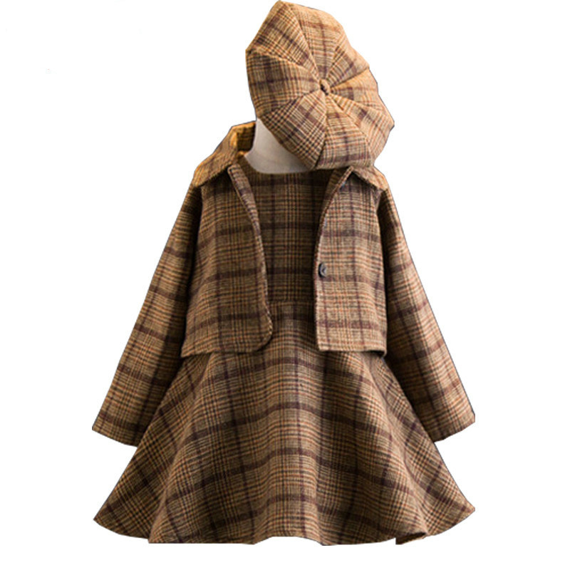 Girls Clothing Sets 2018 Autumn and Winter Single-breasted O-Neck Jacket+Pure Color Dress+Hat 3PCS Children's Clothes Suits ruffle hem single breasted dress