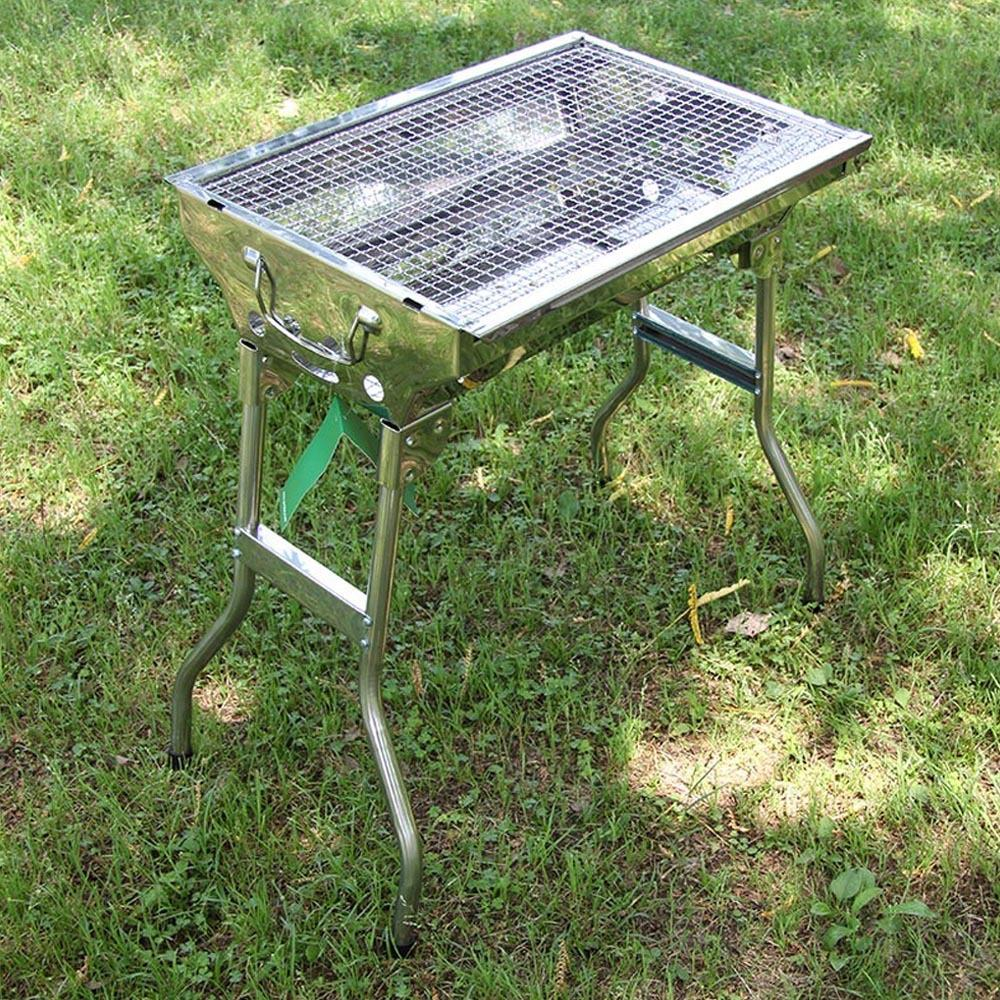 New Stainless Steel Outdoor Portable Barbecue Grid Charcoal Grill Camping  BBQ Stove Oven Bonfire Steak Grill W/ Seasoning Board In BBQ Grills From  Home ...